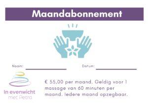 Maandabonnement 55 euro Ontspanningsmassage